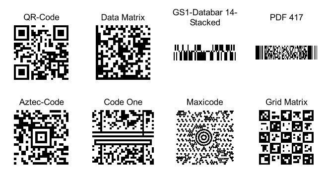 Heyer's Etiketten-Studio Pro - 2D-Codefeld: QR-Code, Data Matrix, GS1-Databar 14-Stacked,  PDF 417, Aztec-Code, Code One, Maxicode, Grid Matrix